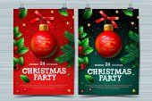 Christmas Party Design Templates, Posters With Ball And Christmas Decoration, Vector Illustration. poster