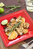 stock photo of dory  - Grilled Dory fish with sauteed mushroom and rosemary - JPG