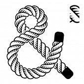 picture of ampersand  - vector black rope ampersand symbol - JPG