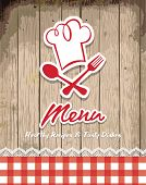picture of recipe card  - illustration of vintage retro frame with restaurant menu design - JPG