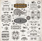 Calligraphic design elements, page decoration, retro labels and frames set for vintage design | Old