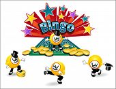 stock photo of money prize  - original illustrated bingo ball character with variety of poses - JPG