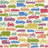 image of motor-bus  - seamless pattern with colorful little cars - JPG