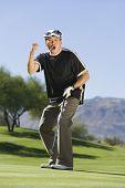Постер, плакат: Полная длина вне себя от радости среднего старца играя в гольф