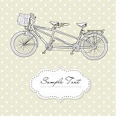 foto of tandem bicycle  - Tandem Bicycle Wedding Invitation with polka dot background - JPG