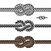 pic of nautical equipment  - vector black rope knot symbols - JPG