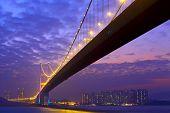 stock photo of tsing ma bridge  - Tsing Ma Bridge at night - JPG