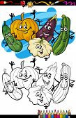 stock photo of gourds  - Coloring Book or Page Humor Cartoon Illustration of Cucurbit or Gourd Vegetables Food Objects Group for Children Education - JPG