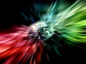 stock photo of divergent  - Abstract red and green background with divergent rays - JPG