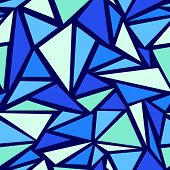 stock photo of monochromatic  - Vector Abstract ice chrystals  seamless pattern background with many blue triangular shapes - JPG