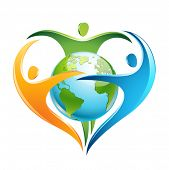 stock photo of trinity  - The figures surround Earth in a shape of a heart - JPG