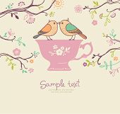 stock photo of recipe card  - card with cup and birds - JPG