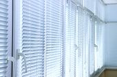 stock photo of penthouse  - Balcony windows with shutters - JPG