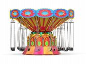 picture of carnival ride  - Carnival Swing Ride isolated on white background - JPG