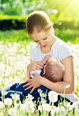 Mother Feeding Her Baby In Nature Green Meadow With White Flowers