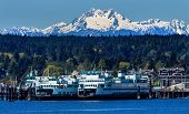 Bainbridge Island Ferry Dock Puget Sound Snowy Mount Olympus Olympic National Park Washington