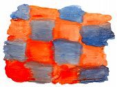 art orange blue square watercolor isolated for your design