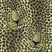 stock photo of ocelot  - Vector pattern of two spottted cats repeats seamlessly - JPG