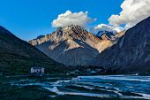 stock photo of himachal pradesh  - Jispa village in Himalayas on sunset - JPG