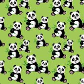 Seamless Pattern With Sitting Cute Panda And Bamboo