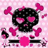 pic of black-cherry  - cute aggressive girlish black and red skull on pink background - JPG