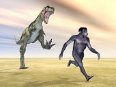 stock photo of homo  - Computer generated 3D illustration with the Homo Habilis and the dinosaur Bistahieversor - JPG