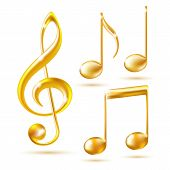 picture of clefs  - Gold icons of a Treble clef and music notes - JPG