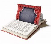 picture of stage theater  - Theater stage with red curtains on the book page  - JPG