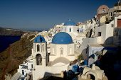 stock photo of greek-island  - A typical scene on the popular volcanic Greek island of Santorini - JPG