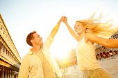 stock photo of blonde  - Dancing romantic couple in love in Venice - JPG