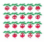 Vector cute cartoon radish smile with many expressions