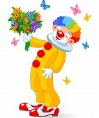image of clowns  - Cute Clown with bouquet of flowers - JPG