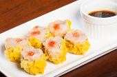 stock photo of siomai  - pork siomai with hot chili and soy sauce