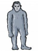 image of bigfoot  - hand drawn sketch cartoon illustration of bigfoot - JPG