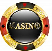Casino chip with brilliants