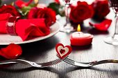 stock photo of banquet  - Festive place setting for Valentine - JPG