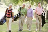 image of portrait middle-aged man  - Portrait Of Four Friends Enjoying A Game Golf - JPG