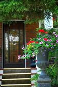 stock photo of flower vase  - house entrance with flower vase - JPG
