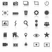 Photography Icons With Reflect On White Background