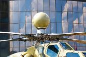 image of rotor plane  - Helicopter rotor with a mast hub and rotor blades - JPG