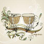 stock photo of timpani  - hand drawn timpani on a light background - JPG