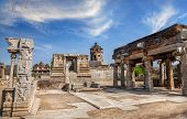 picture of karnataka  - Ancient ruins at royal center in Hampi Karnataka India - JPG