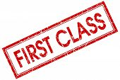 image of first class  - First class red square grungy stamp isolated on white background - JPG