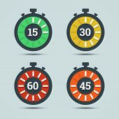 pic of chronometer  - Timer icons with color gradation and numbers in flat style on a light background - JPG