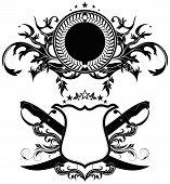 image of saber  - set of ornamental heraldic shields with  sabers - JPG