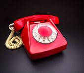 pic of rotary dial telephone  - Red telephone - JPG