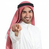 picture of middle finger  - Arab saudi emirates man pointing you at camera isolated on a white background - JPG