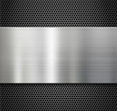 picture of metal grate  - steel metal plate over comb grate background - JPG