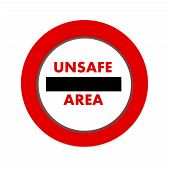 pic of unsafe  - unsafe area icon in white background with shadow