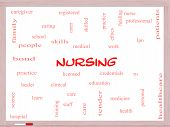 image of rn  - Nursing Word Cloud Concept on a Whiteboard with great terms such as licensed skills caring and more - JPG